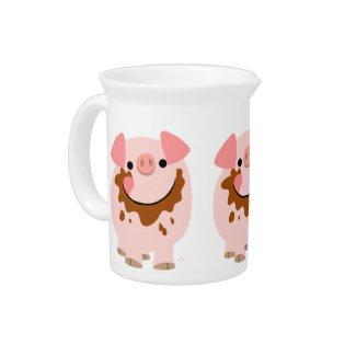 Cute Chocolate Cartoon Pig Pitcher Beverage Pitchers