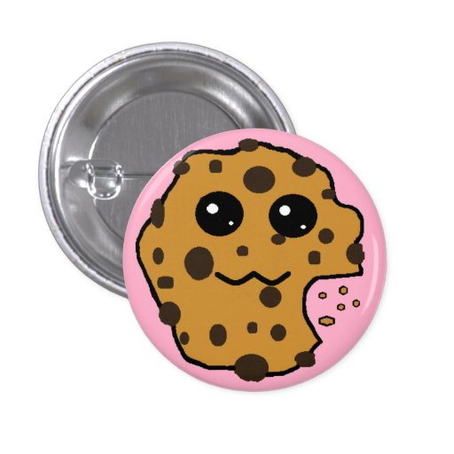 Cute chocolate chip cookie pink pinback button