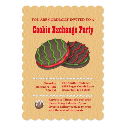 Cute Chocolate Cookie Exchange Holiday Invite