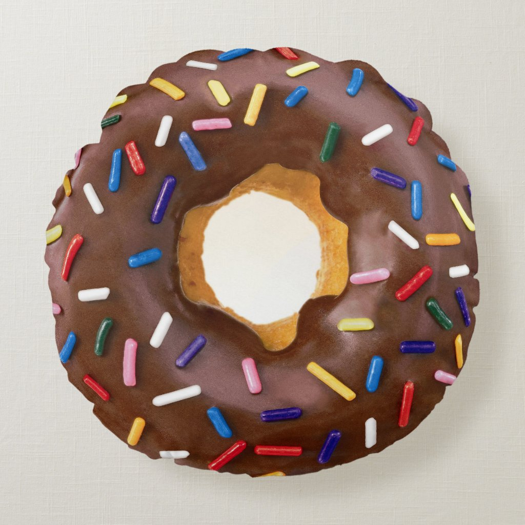 Cute Chocolate Donuts with Sprinkles Round Pillow