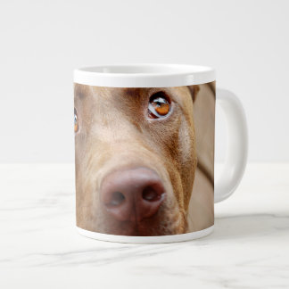 Cute Chocolate Lab Pit Mix Dog Portrait 5 Large Coffee Mug