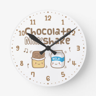 Cute Chocolate Milkshake Doodle For Her Round Clock