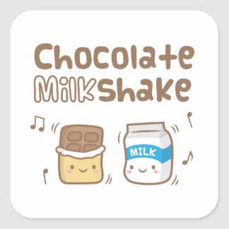 Cute Chocolate Milkshake Doodle For Her Square Sticker