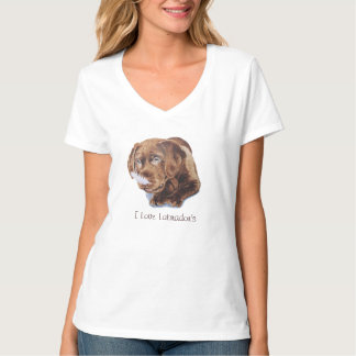 cute chocolate puppy labrador funny dog picture T-Shirt