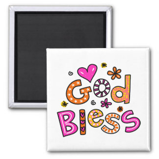 Cute Christian God Bless Greeting Text Expression Magnet