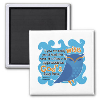 Cute Christian Owl 2 Inch Square Magnet