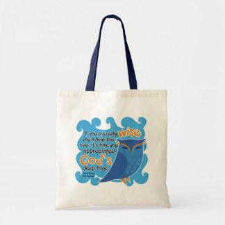 Cute Christian Owl Budget Tote Bag