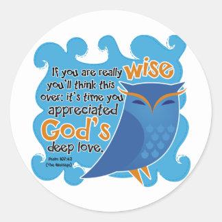 Cute Christian Owl Classic Round Sticker