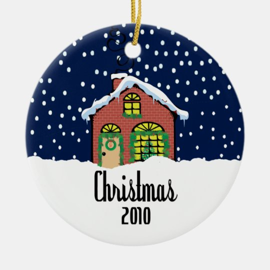 Cute Christmas 2010 Brick House Ceramic Ornament