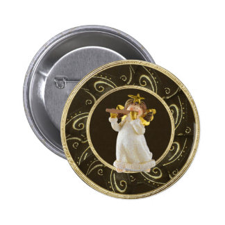 Cute Christmas Angel Playing Flute Button