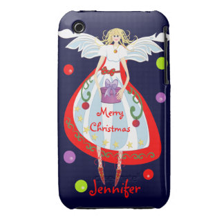 Cute Christmas Angel with Gift box and Text Case-Mate iPhone 3 Cases
