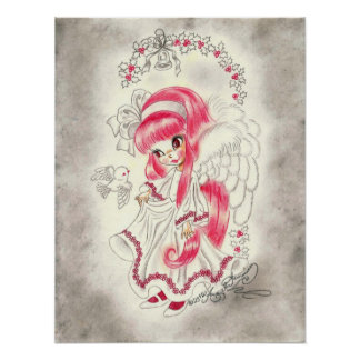 Cute Christmas Angel With Red Hair And Holly Poster