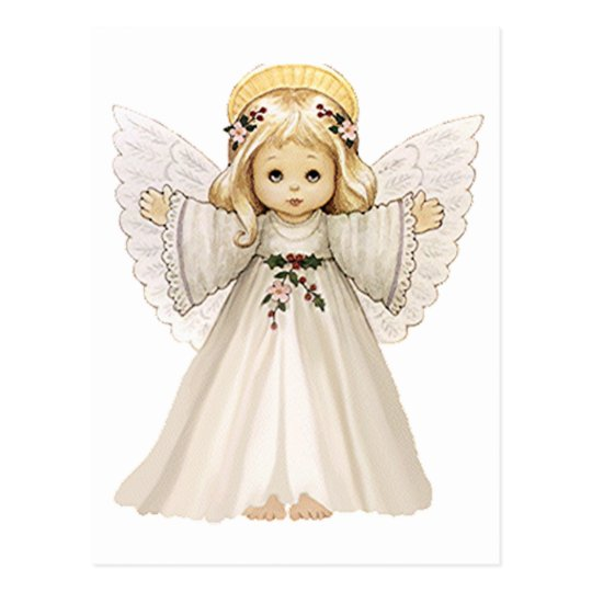 Christmas Angels.Cute Christmas Angels With Arms Out Postcard
