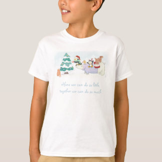 Cute Christmas animals decorating a snowy tree T-Shirt