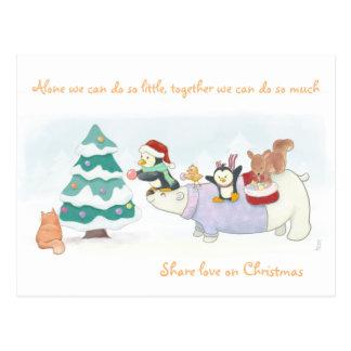 Cute Christmas animals greetings postcard
