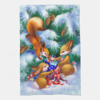 Cute Christmas Animals Kitchen Towel