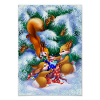 Cute Christmas Animals Poster