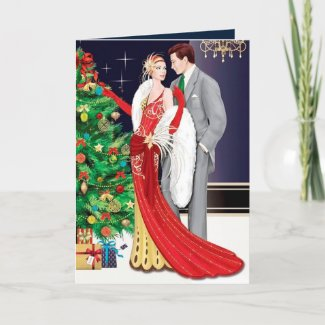 Cute Christmas art deco couple add message Holiday Card