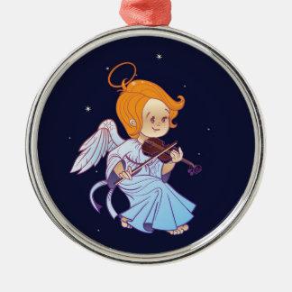 Cute Christmas  baby angel playing violin Metal Ornament
