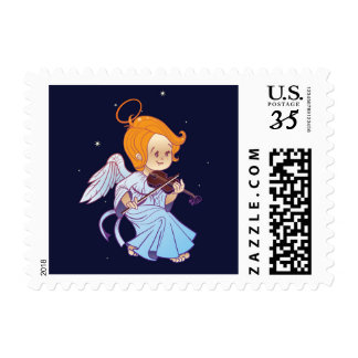 Cute Christmas  baby angel playing violin Postage