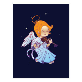 Cute Christmas  baby angel playing violin Postcard