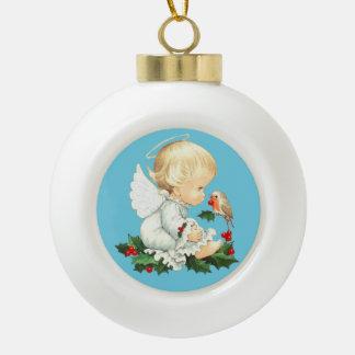 Cute Christmas Baby Angel with Robin Ceramic Ball Christmas Ornament
