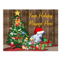 Cute Christmas Baby Goat Postcard