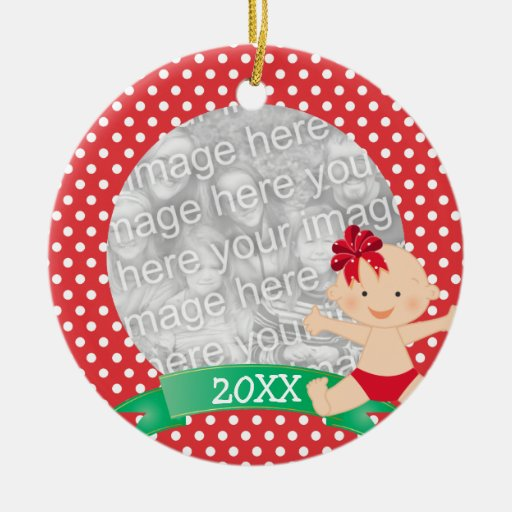 Cute Christmas Baby with Bow Red First Christmas Double-Sided Ceramic Round Christmas Ornament