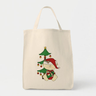 Cute Christmas Baby with Tree Tote Bag