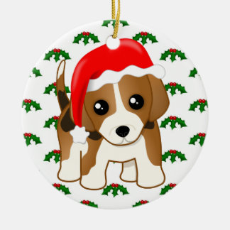 Cute Christmas Beagle Puppy Dog and Holly Ceramic Ornament