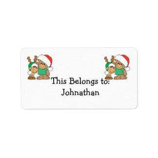 Cute Christmas Bear and Reindeer Address Label