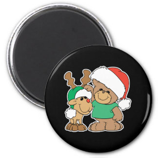 Cute Christmas Bear and Reindeer 2 Inch Round Magnet