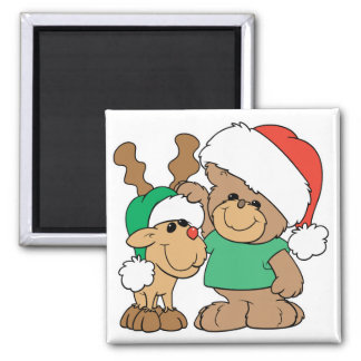 Cute Christmas Bear and Reindeer 2 Inch Square Magnet