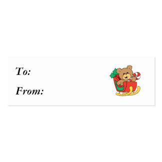 Cute Christmas Bear in Sleigh Business Card Template