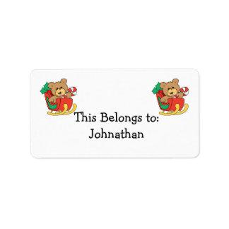 Cute Christmas Bear in Sleigh Address Label