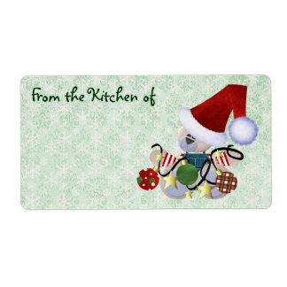 Cute Christmas Bear Kitchen Labels