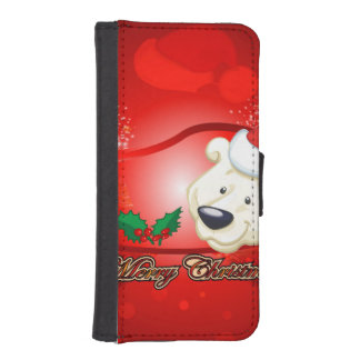 Cute Christmas bear iPhone 5 Wallet Cases