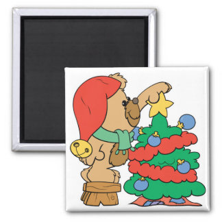 Cute Christmas Bear Trimming Tree 2 Inch Square Magnet