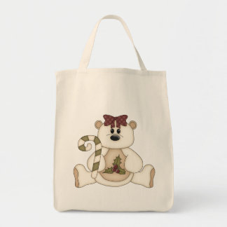 Cute Christmas Bear with Candy Cane Tote Bag