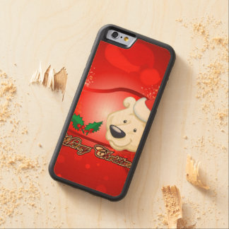 Cute christmas bear carved® maple iPhone 6 bumper case