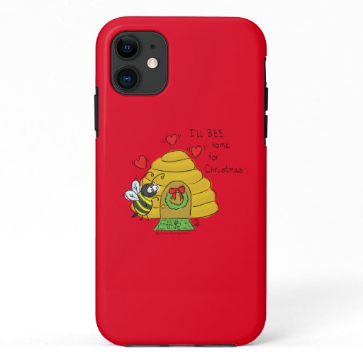 Cute Christmas Bee Funny Holiday Cartoon iPhone 11 Case