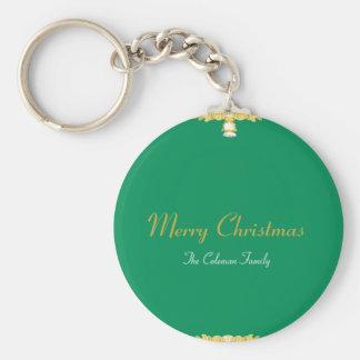 CUTE CHRISTMAS BELL GOLDEN BAROQUE FRAME GREEN BASIC ROUND BUTTON KEYCHAIN