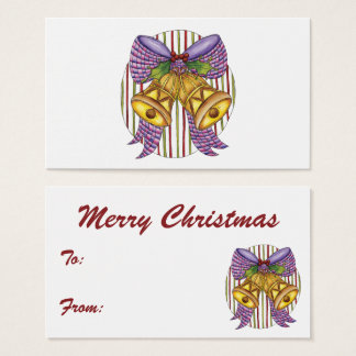 Cute Christmas Bells with a Ribbon Bow and Holly Business Card