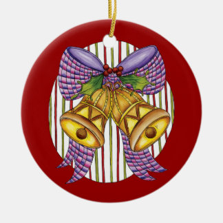 Cute Christmas Bells with a Ribbon Bow and Holly Ceramic Ornament