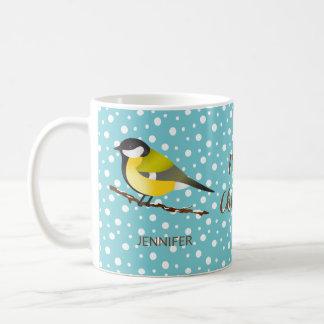 Cute Christmas Bird Great Tit Parus Major And Name Coffee Mug