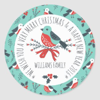 Cute Christmas Bird Pattern Text Template