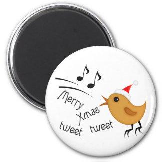 Cute Christmas Birdie 2 Inch Round Magnet