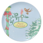 Cute Christmas Birds on Lamppost Dinner Plate