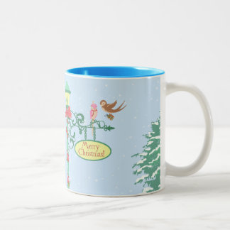 Cute Christmas Birds on Lamppost Two-Tone Mug