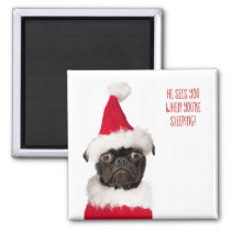 Cute Christmas Black Pug Puppy Santa Magnet